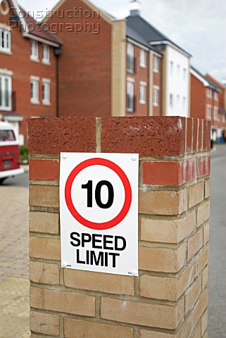 Speed limit on a modern housing development Ipswich UK