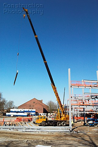 Steelframe erection with mobile telescopic extended crane Ipswich UK