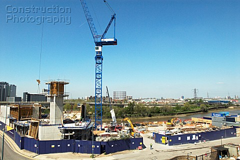 Housing development under construction near the Lower Lea crossing Canning Town East London UK