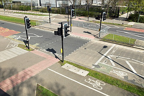 Pedestrian crossing and cycle lane infrastructure South East London UK
