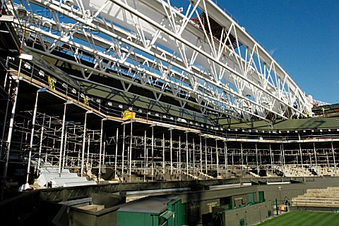 New roof trusses for new retractable roof of Centre Court All England Lawn Tennis Club Wimbledon Lon