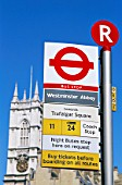 England, London, Bus Stop Sign Near Westminster Abbey
