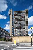 External view of Trellick tower, Golborne Road, London including pedestrian crossing, London, UK