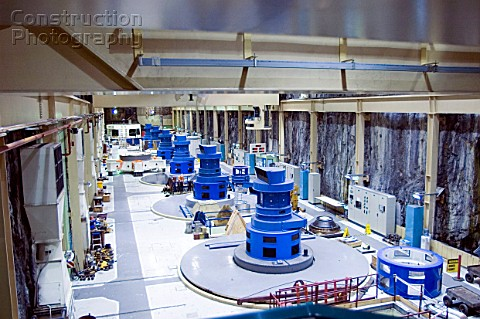 Interior of Manapouri underground Hydro Electric Power Station New Zealand