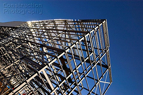 steel frame construction partially clad