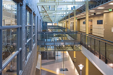 Interior view of new public high school in northern Utah Natural light plays a large role in helping