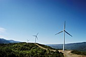 Wind turbines, Languedoc, France
