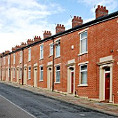 Terraced houses, Blackburn, Lancashire, UK