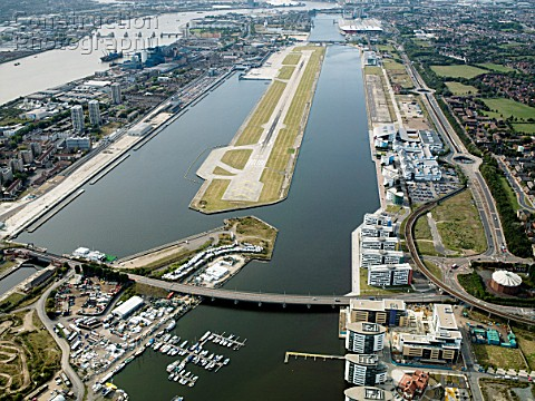 Aerial view City Airport from the east Old Royal Docks University of East London Thames Barrier and