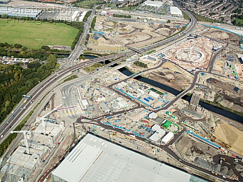 Aerial view of 2012 Olympic site Stratford East London UK September 2009