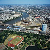 Aerial view of Battersea Power Station and Battersea Park, London, UK.