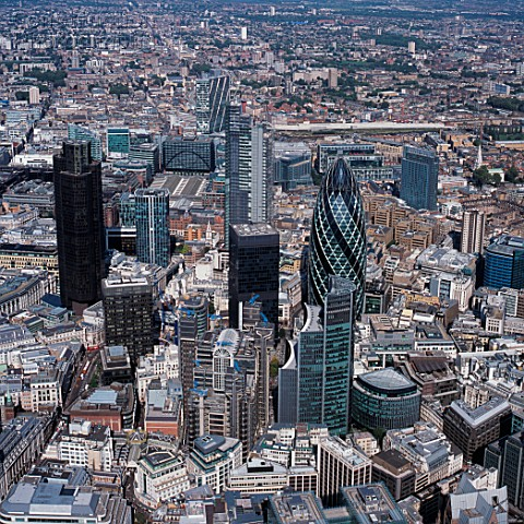 Aerial View of the City of London UK