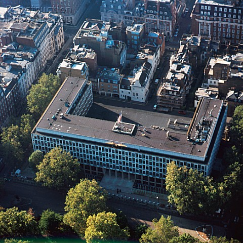 Close Up Aerial View Of The American Embassy In London Uk