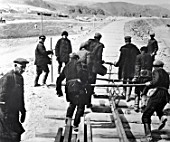 Workers building the Turksib railway linking Siberia and Central Asia, Turkmenistan, USSR, 1930