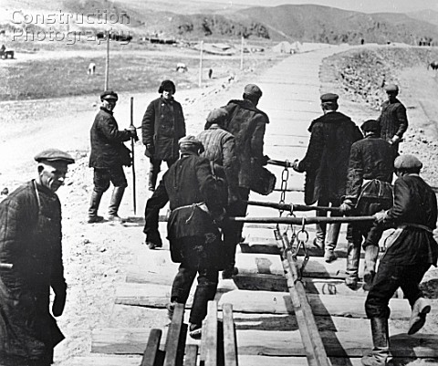 Workers building the Turksib railway linking Siberia and Central Asia Turkmenistan USSR 1930