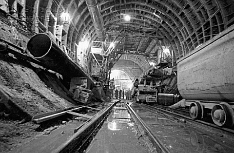 Construction of Kalininskaya Line of the Moscow metro Russia August 1979