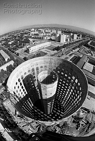 Construction of 16storey aseismic buildings in Dushanbe Tajikistan USSR 1987 wide angle