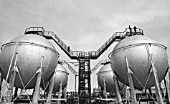 Oil storage tanks, Baku, Azerbaijan, USSR, 1978