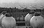 Oil storage tanks at the Nizhnekamsk Petrochemical Factory, Nizhnekamsk, Republic of Tatarstan, Russia, 1970