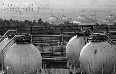 Oil storage tanks at the Nizhnekamsk Petrochemical Factory Nizhnekamsk Republic of Tatarstan Russia