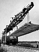 UK-25/21 track crane at a railway construction, Russia, 1967
