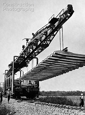 UK2521 track crane at a railway construction Russia 1967