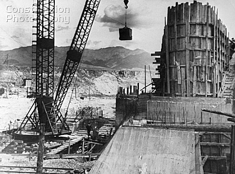 Construction of the main dam on the river Chirchik Uzbekistan USSR 1936
