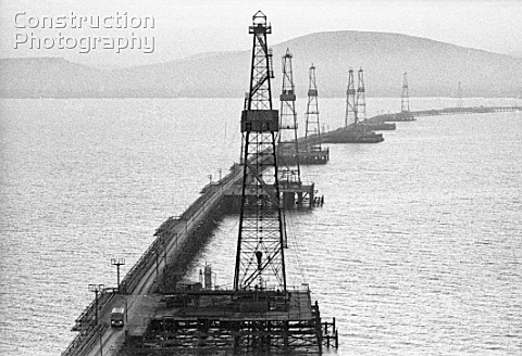 Oil rigs on the Caspian Sea Azerbaijan USSR 1987