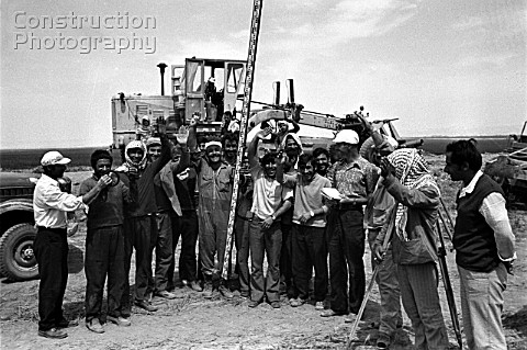 Syrian and Soviet construction workers laying a stretch of the LatakiaQamishli railroad Syria 1976