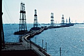 Oil derricks on the Caspian Sea near Azerbaijan, 1993