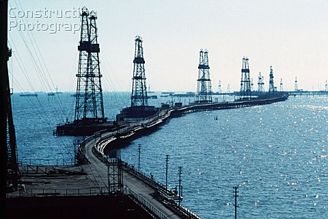 Oil derricks on the Caspian Sea near Azerbaijan 1993