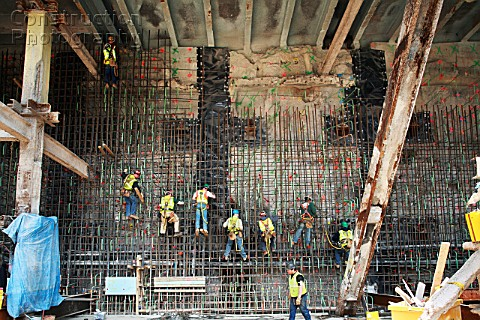 Latherers tying off rebar on slurry wall of Tower One site World Trade Centre Lower Manhattan New Yo