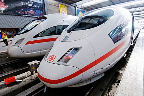 DB Intercity ICE high speed trains at Munich railway station Germany
