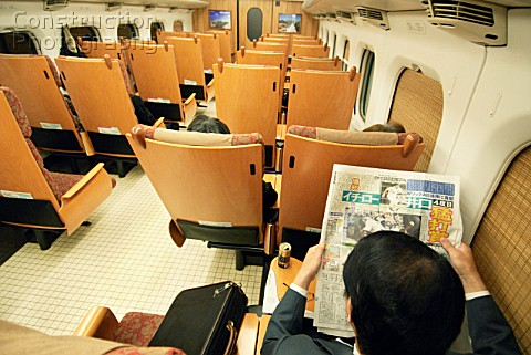 Interior of new Tsubame shinkansen or bullet train on Kyushu Island in southern Japan