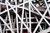 Detail of abstract structural steelwork of Beijings Olympic Stadium or The Bird`s Nest 2009