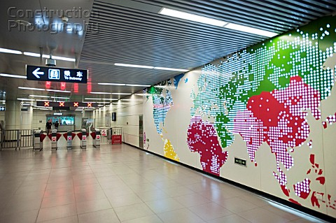 Interior design on walls of new airport express railway station in central Beijing 2009