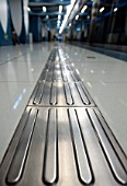 Detail of architectural floor design for the disabled at airport express railway station in central Beijing 2009