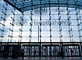 Glass curtain wall at entrance to Berlin Hauptbahnhof railway station in Berlin, Germany, 2009