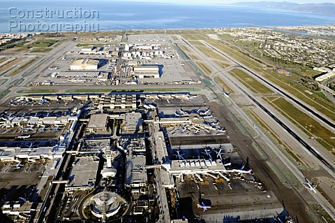A helicopter aerial view view over LAX The Los Angeles International Airport California USA