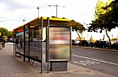 Bus stop with billboards for advertisements, Barcelona, Spain