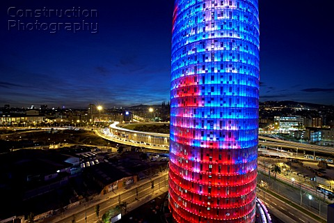 View of the Agbar Tower at night architect Jean  Barcelona Spain