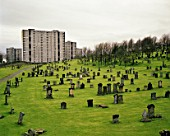 Cemetery in the suburbs of Glasgow, Scotland, UK
