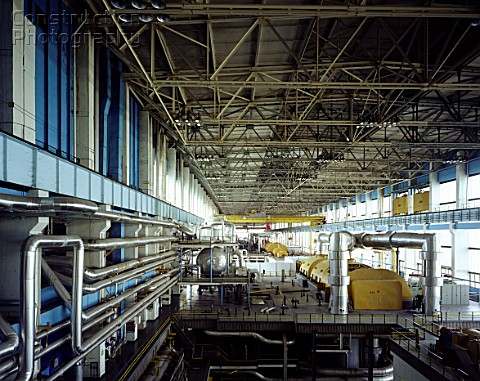 Turbine hall at decommissioned nuclear power plant Kozlodui Bulgaria