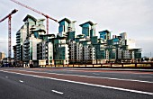 St. George Wharf residential housing, Vauxhall Bridge, London. in construction, designed by Broadway Malyan Architects