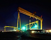 Gantry cranes in the Harland and Wolff shipyard, constructed by the German engineering firm Krupp, with Goliath being completed in 1969 and Samson in 1974