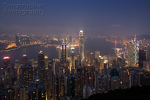 Illuminated hong kong skyline