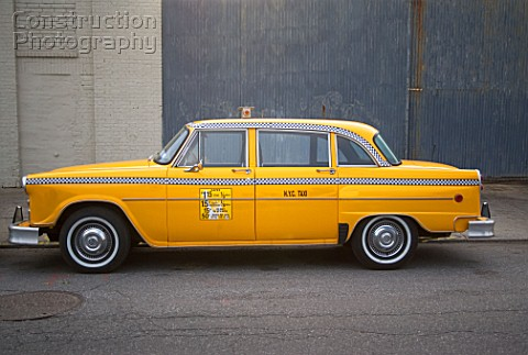 Parked yellow taxi cab new york