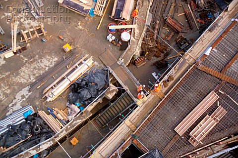Aerial view of a building site