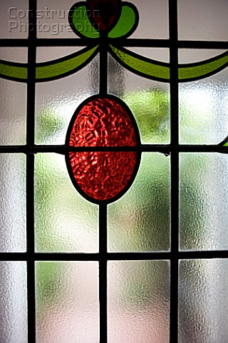 Stained glass in door