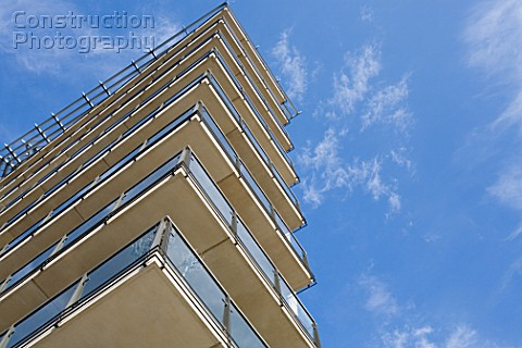 Balconies on apartment block low angle